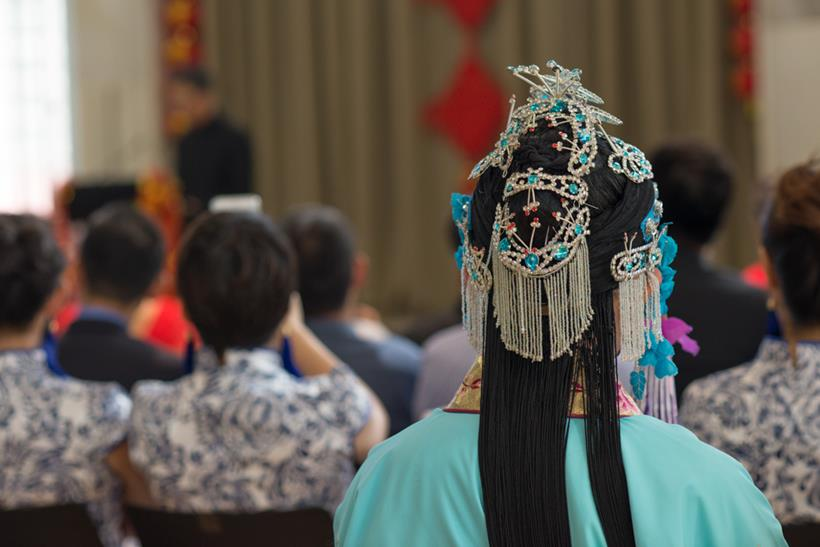 Image of the headdress of a performer at the Chinese New Year Celebration