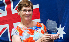 2014 Australia Day Citizen of the Year Judith Young pictured with trophy