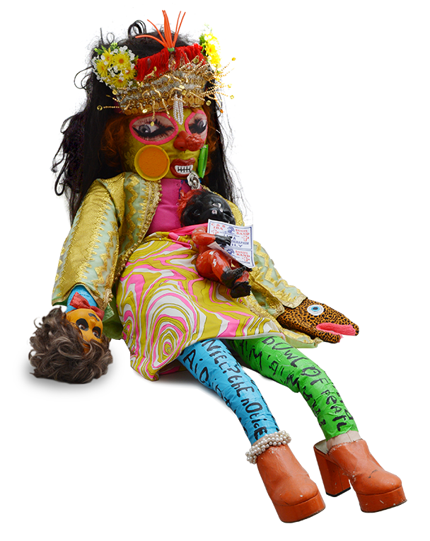 Lady with snake hand, Wright, fabric, mixed media, stitch