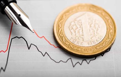 Turkish lira on top of a graph