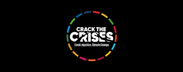 A colourful logo on a black background reading Crack the Crises: Covid. Injustice. Climate change.
