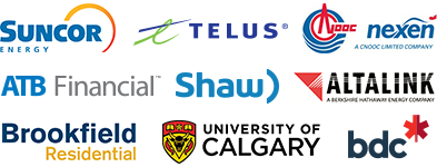 Suncor, TELUS, CNOOC Nexen, AltaLink, BDC, ATB Financial, Brookfield Residential, Shaw and University of Calgary