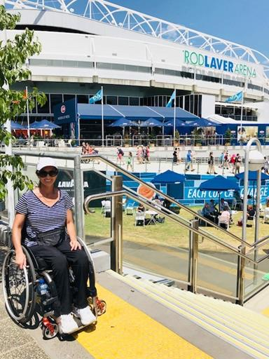 Woman outside Rod Laver Arena