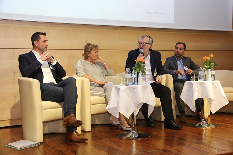 Photo: At the Panel discussion at the event in Lower Austria - Mag. Günther Widy, Sozialministeriumsservice Lower Austria; BR Kommerzialrat Sonja Zwatzl, Wirtschaftskammer Lower Austria; Dr. Ernst Wurz, HR-manager at 'Pollmann International'; Lucas Gruber, AMS Lower Austria
