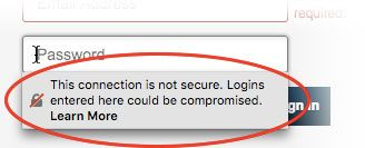 Warning on password field