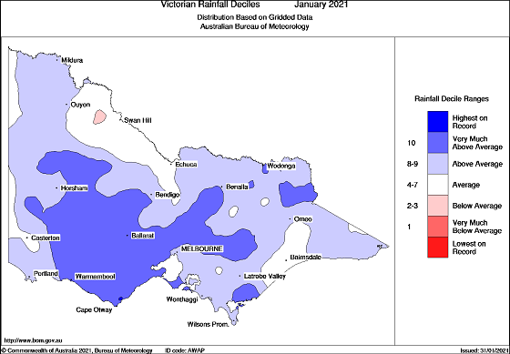 Victoria rainfall deciles for January