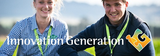 A poster promoting Innovation Generation features two young farmers female and male.