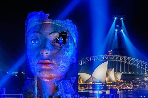 Handa Opera on Sydney Harbour's production of Aida, with the Sydney Harbour Bridge and Sydney Opera House in the background.