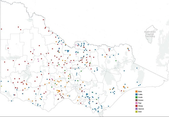 Map of disease investigations in Victoria.