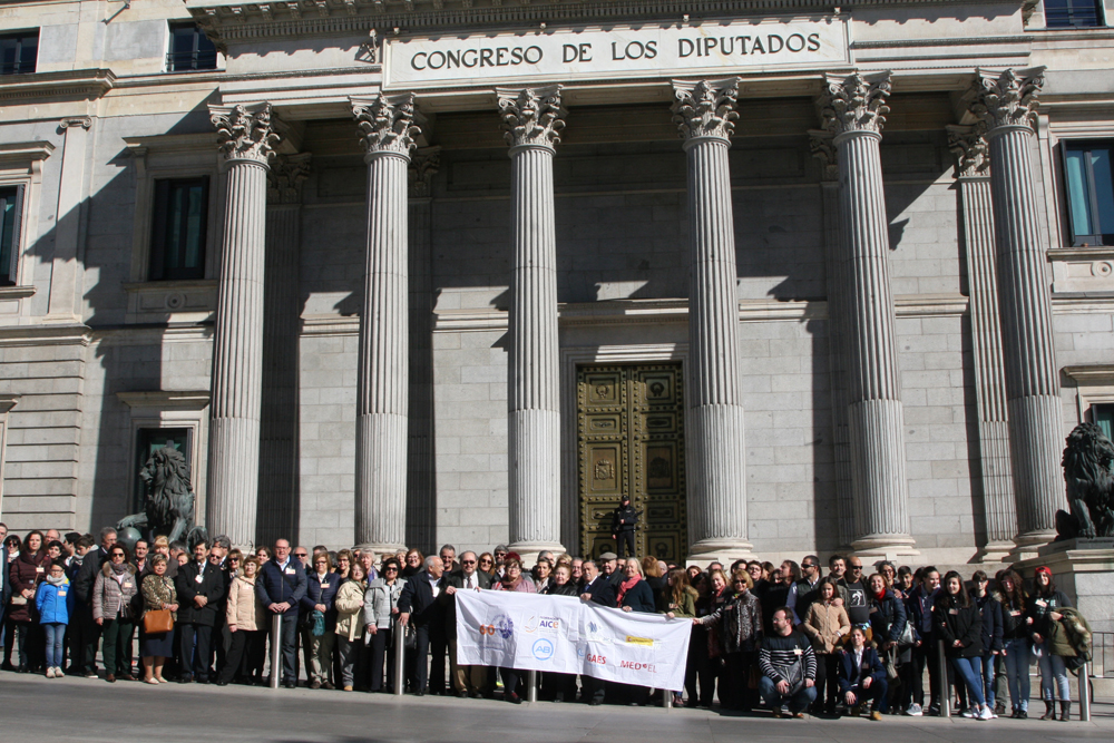 Photo: The participants in front of the Spanish Parliament