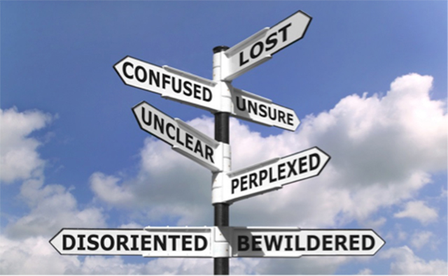 image of signpost - lost, confused, unsure, unclear, perplexed, disoriented, bewildered