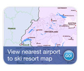 View nearest airport  to ski resort map