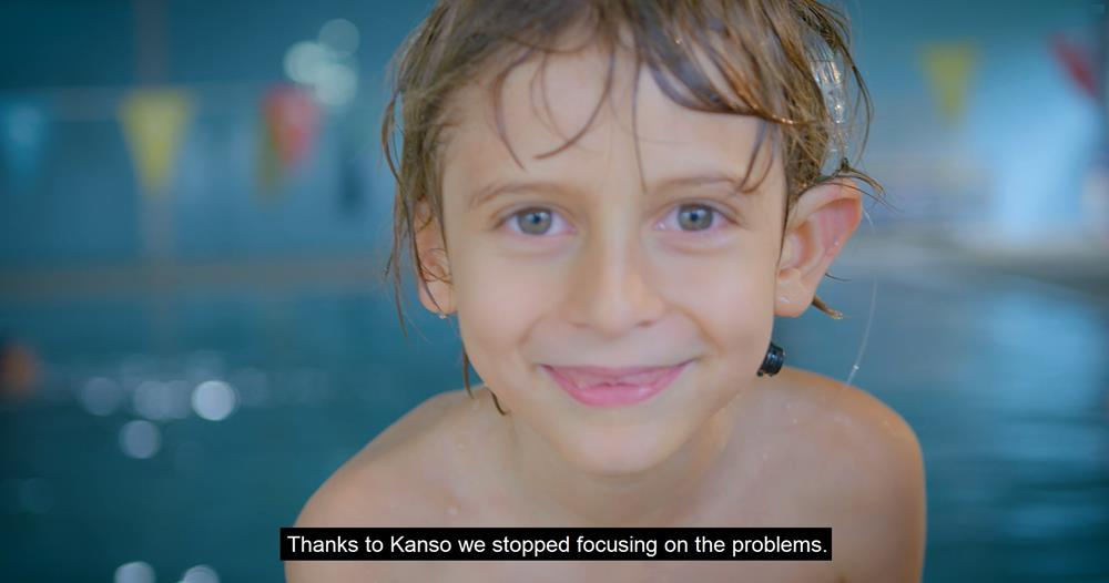 "Picture of boy and the caption ""Thanks to Kanso, we stopped focusing on the problems."""