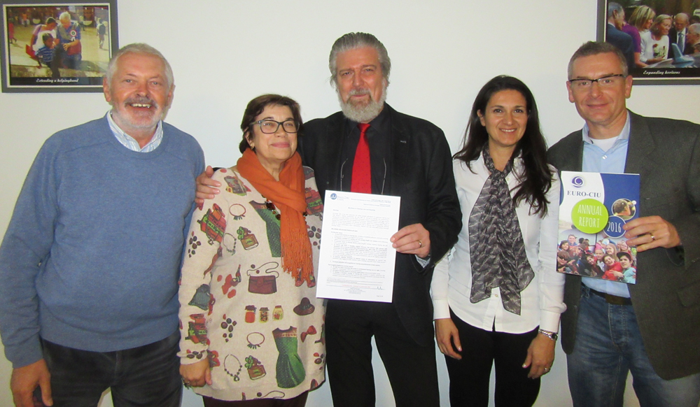 Photo - meeting in Brussels: Brian Archbold, Teresa Amat, Mark Laureyns, Beatrice Cusmai and Ervin Bonecz