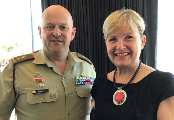 Lt COL Pete Fleming with RDA Hume Chair Susan Benedyka