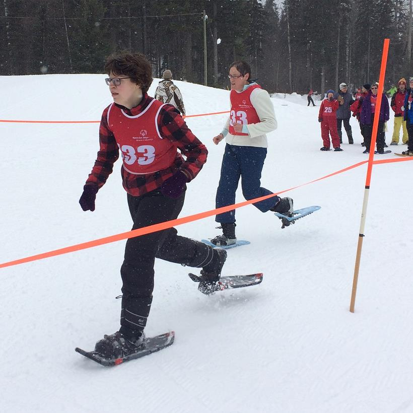 Snowshoeing action at the 2017 SOBC Snow Sports Festival