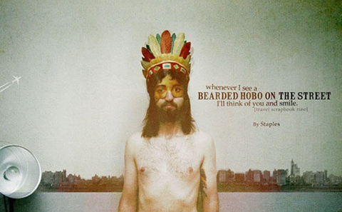 Bearded hobo on the street zine cover by Jeremy Staples
