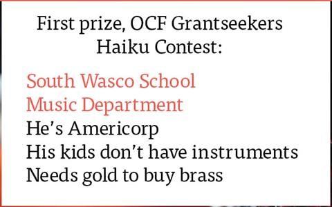 First Prize Winner OCF Grantseeker Haiku Contest