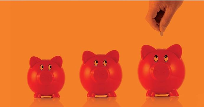 Three red piggy banks eyeing a hand with a coin