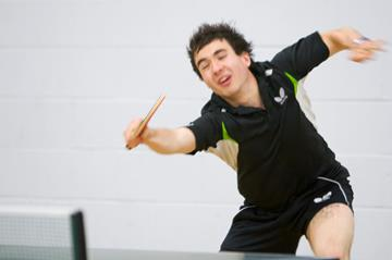 Will Bayley playing table tennis