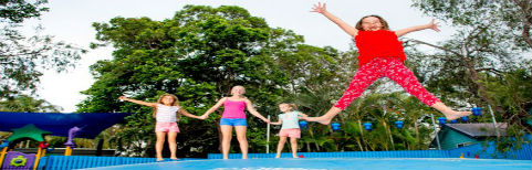 kids on jumping pillow