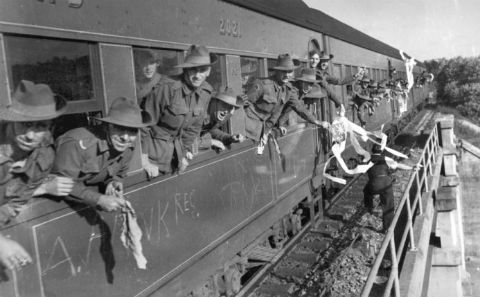 Soldiers on a train