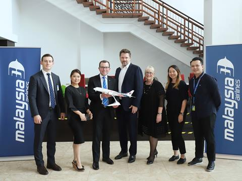 Minister Marshall (third from left)andDestination NSW CEO, Sandra Chipchase (third from right) meet with Malaysia Airlines Group CMO, Arved von zur Muehlen (centre).