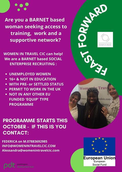 Advert for Women in Travel training opportunity