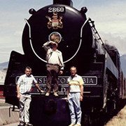 The first three faculty who taught Geography at Selkirk College include (L-R) Jim Crowley, Jim Cromwell and Don Couch. The group are seen here at the Squamish steam train.