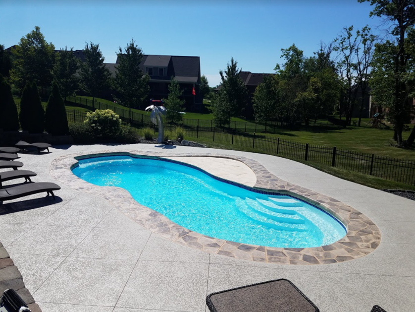 Pool area coated with SunLastic