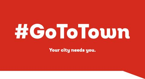 Bright banner with #GoToTown