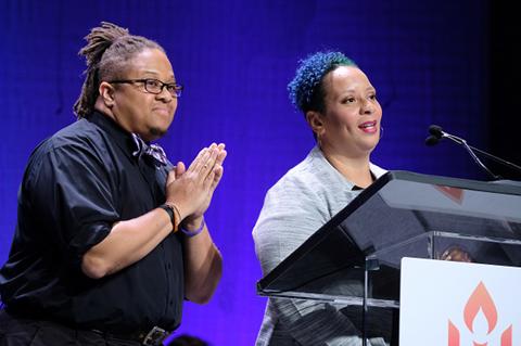 Rev. Mykal Slack and Leslie Mac on stage at General Assembly 2019.