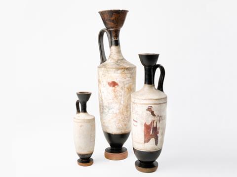 Three white ground lekythoi (ceramic vessels)