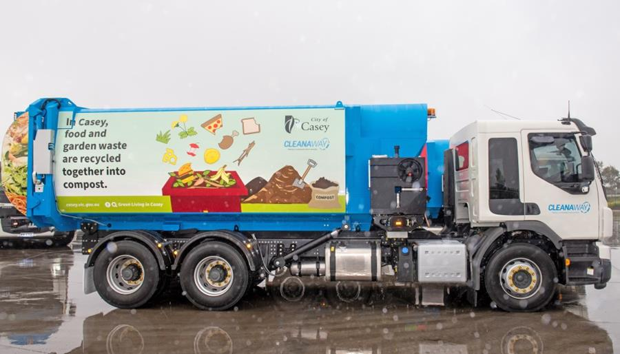 City of Casey rubbish truck with Back to Earth branding