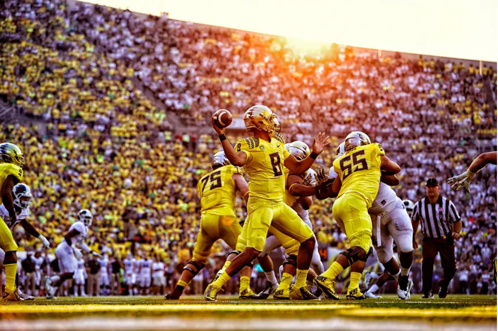 Michigan Football team on field during college football game