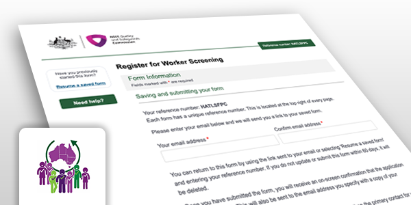 Screen grab of the worker screening application form