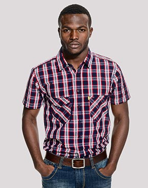 Mens Slim Fit Code Double Pocket Short Sleeved Shirt