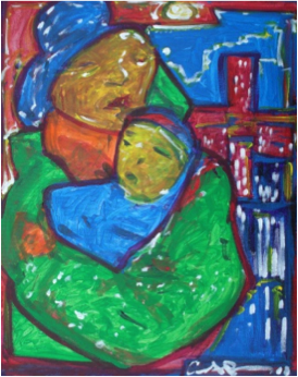 Bright, colorful painting of mother and child.