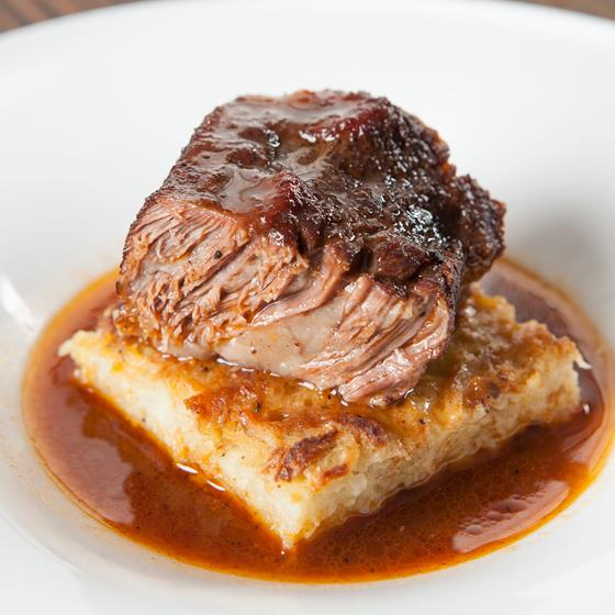 Braised Short Ribs served on Potato Kugel