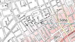 John Snow's 19th century map of Soho overlaid on a modern map.