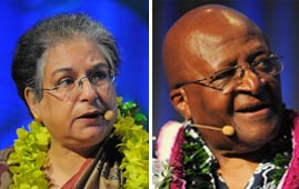 Hina Jilani and Desmond Tutu at Pillars of Peace Hawaii
