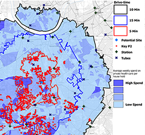 Map contains drive time and demographic data - Read case study to learn more