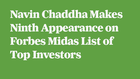 Navin Chaddha Makes Ninth Appearance on Forbes Midas List of Top Investors