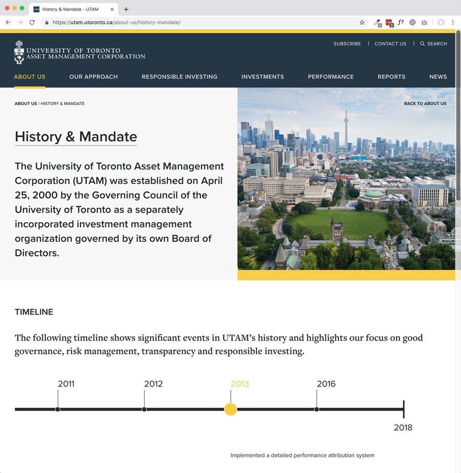 Screen capture of UTAM website.
