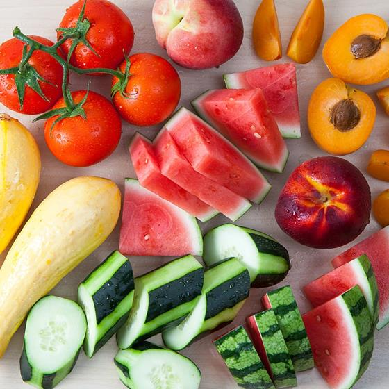 Watermelon, tomatoes, cucumber, peaches and squash