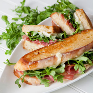 Triple Crème, Prosciutto & Arugula Grilled Cheese Sandwich