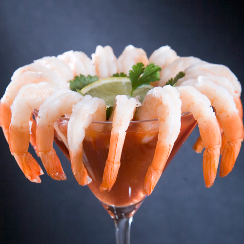 Shrimp cocktail in a martini glass