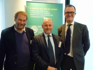eft to right: Roger Wilson (Senior Conservationist, WLT), Jonathan Tame (Director, CarbonCO), Mark Thompson (Director, Sustainability & Climate Change,  PriceWaterhouseCoopers LLP). © AD Communications/CarbonCO.