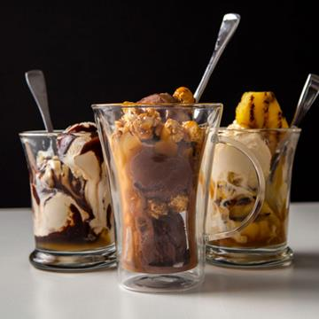 three ice cream sundaes