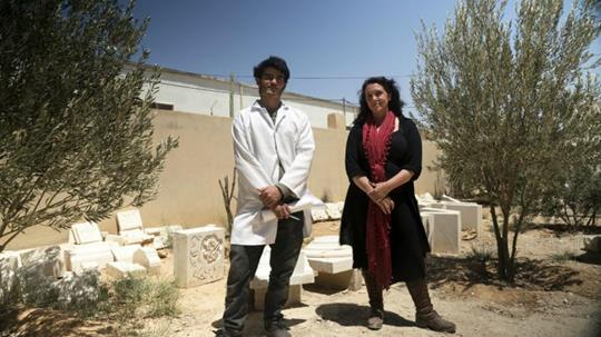 Bettany Hughes with Hamza, a refugee originally from Damascus who is training to be a stonemason in order to repair damage to Syria's buildings